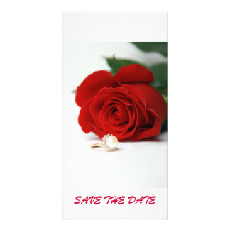 postcard red rose  SAVE THE DATE Photo Card Template