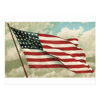 Postcard Reproduction Vintage American Flag