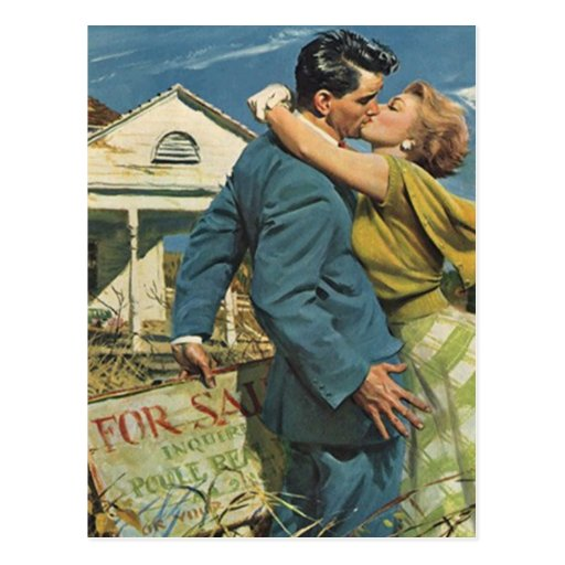 Postcard Retro Couple Moving In Moved New Address