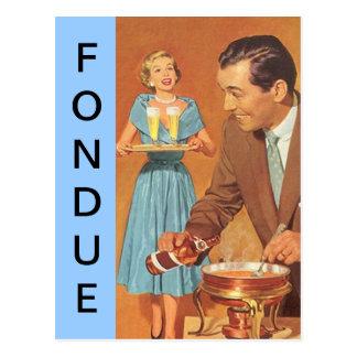 Postcard Retro Fun Fondue Party Vintage Couple