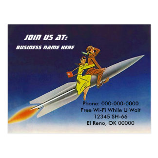 Postcard Retro Rocket Ship Riders Sky Riding PC