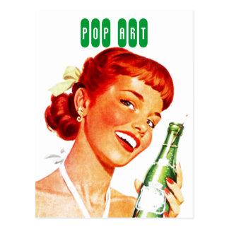 Postcard Retro Stylish Gal w/ Soda PUN FUN Pop Art