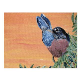 Postcard - Robin Acrylic Painting