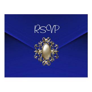 Postcard RSVP Invitation Blue Pearl Jewel
