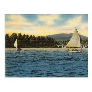 Postcard Sail boats on lake Hamilton,  Arkansas