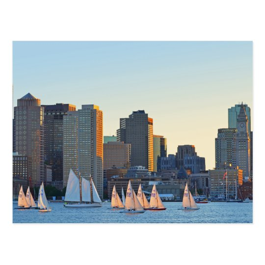 Postcard- Sailboats in Piers Point Park in Boston Postcard