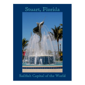 Postcard Sailfish Water Fountain Stuart, Florida