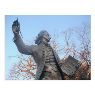 Postcard Thomas Paine Statue Holding RIghts Of Man