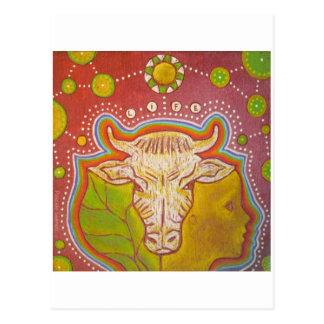 Postcard vegan life human animal plant