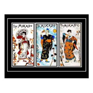 Postcard Vintage Asian Art Mikado