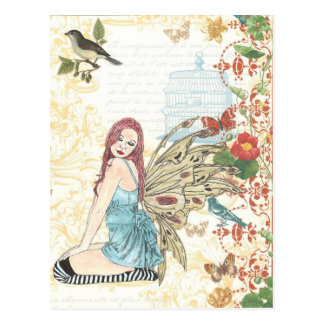 "Postcard ""Vintage Birdcage Fairy"""