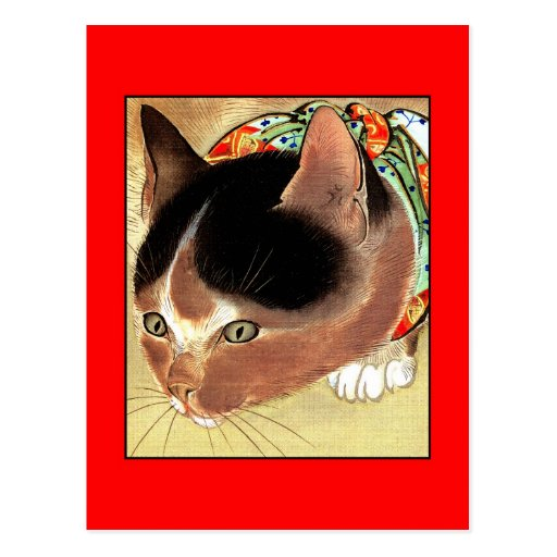 "Postcard: Vintage Cat Art: ""Curious Kitty Cat"""