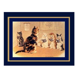 Postcard Vintage Cats In School