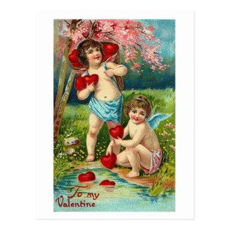 Postcard-Vintage Cherub Valentine's-my Valentine Postcard
