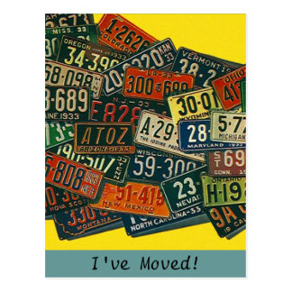 Postcard Vintage License Plates I've Moved Address