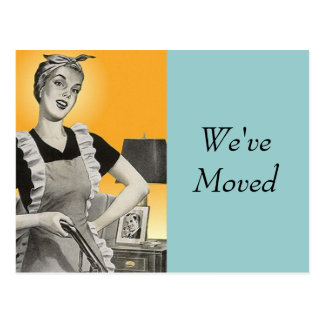 Postcard Vintage Retro Busy Cleaning New Address