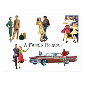 Postcard Vintage Retro Festive Fun Family Reunion