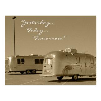 Postcard Vintage Retro Travel Trailer Road Trip