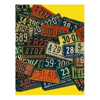 Postcard Vintage Retro Vacation License Plates PC