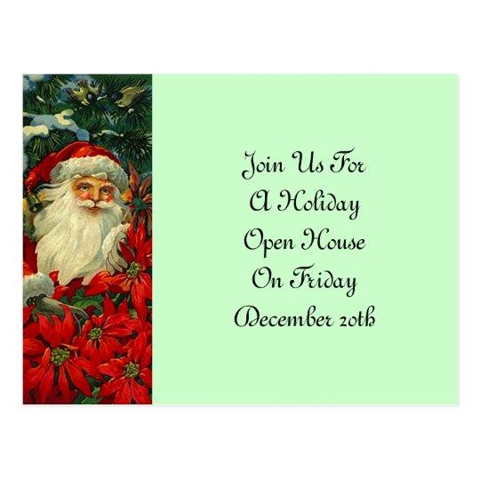 Postcard Vintage Santa & Poinsettias Holiday Party