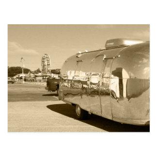 Postcard Vintage sepia aluminum AS Safari Trailer