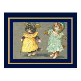 Postcard Vintage Skipping Cats Post Cards