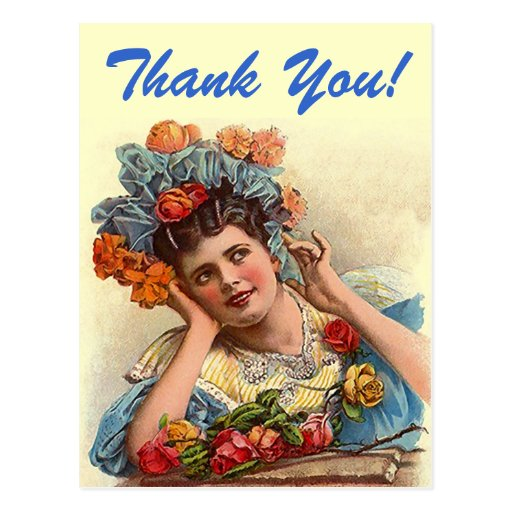 Postcard Vintage Thank You! Think Pretty Rose Lady