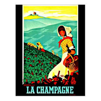 Postcard-Vintage Travel-Champagne