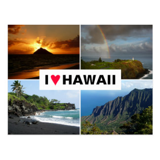 Postcard with a 4 photo Hawaii collage