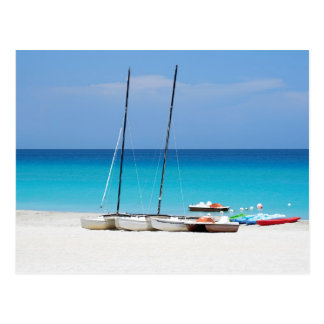 Postcard with a tropical beach scene