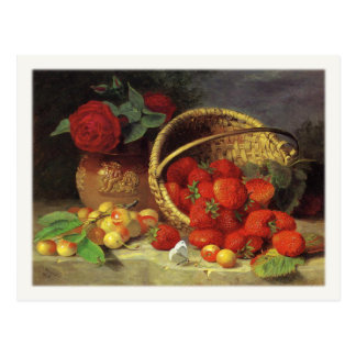 Postcard With Basket of Strawberries