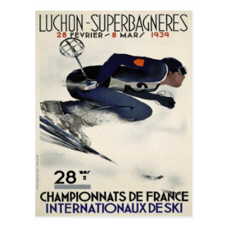Postcard with Cool Ski Poster from France