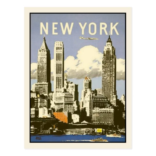 Postcard with Cool Vintage New York Print