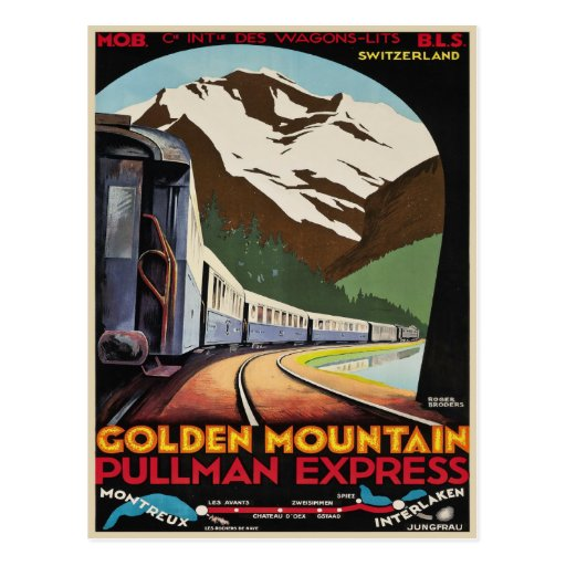 Postcard with Cool Vintage Ski Resorts Print
