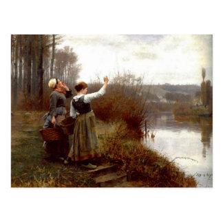 Postcard With Daniel Ridgway Knight Painting