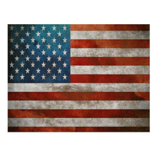 Postcard with Dirty Stars and Stripes Vintage Flag