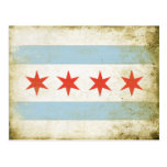 Postcard with Distressed Chicago Flag Print