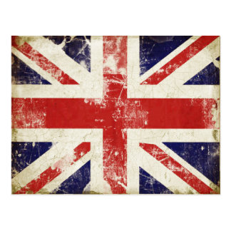 Postcard with Distressed Great Britain Flag