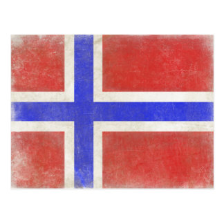 Postcard with Distressed Norwegian Flag
