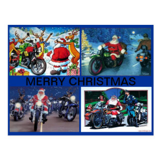 POSTCARD WITH FOUR SANTA MOTORCYCLE SCENES