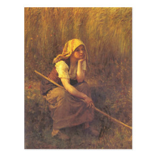 Postcard With Jules Breton Painting