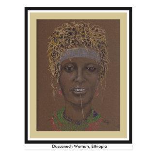 Postcard with original art, Ethiopian Woman
