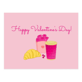 Postcard with pink breakfast design