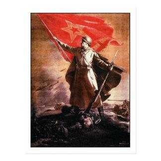 Postcard with Russian WWII Propaganda Print