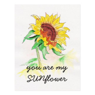 Postcard with sunflower