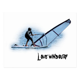 postcard with text: love go windsurfing