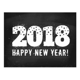 Postcard with text of 2018 on chalkboard. New year