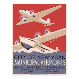 Postcard With Vintage Airport Poster