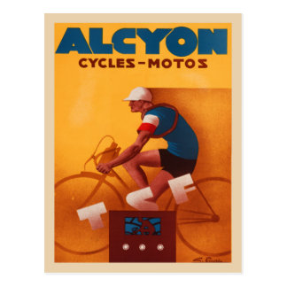Postcard With Vintage Alcyon Bicycle Poster Print