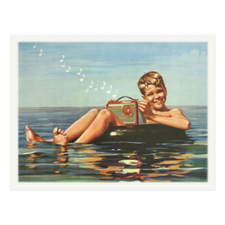 Postcard with Vintage Boy On The Ocean